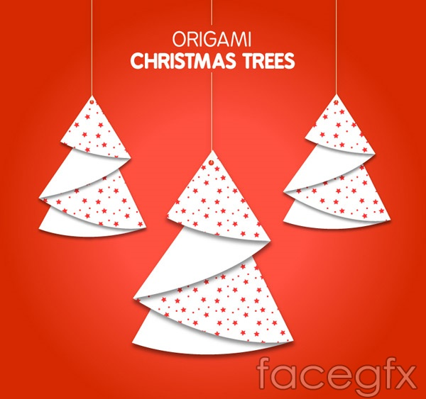 The Origami Christmas Tree Ornaments Vector Will Download As A Psd