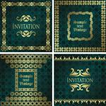 Green invitation card vector