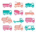 Color of vehicle icons vector