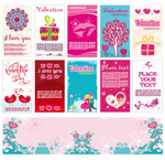 Fashion cartoon Valentine cards vector