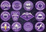 Purple fast food labels vector