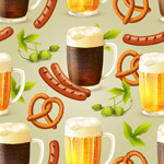 Background of sausage-and-beer vector