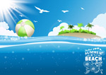 Tropical island in the background vector