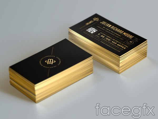 Two colors of black and gold business card vector