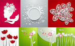 Three-dimensional flowers vector