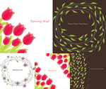 Roses and leaves border vector
