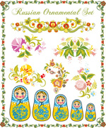Pattern with Russia doll vector