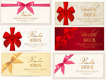 Bows gift certificates vector