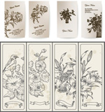 Flower line art cards vector