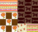 Dotted flowers and shade vector