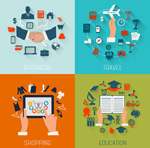 Business education travel icons vector