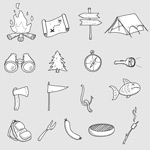 Hand-painted camp icons vector