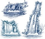 Hand-painted waterfalls vector
