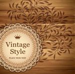 Wooden background label vector