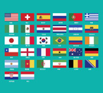 World Cup round of 32 flag vector