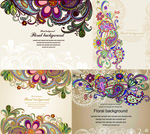Flowers and traditional pattern vector