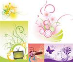 Flower circle element vector
