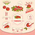 Cartoon tomato label vector