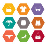 Clothing and accessories icon vector