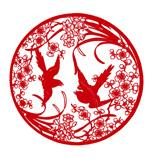 Plum blossom paper-cut designs vector