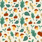 Mushroom and green leaf background vector