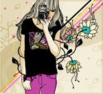 Photo girl illustration vector