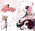 Butterfly flower women illustration vector