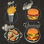 Fast-food labels vector