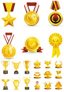 Promotional trophies badge icons vector