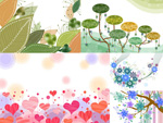 Flowers and heart-shaped plant vector