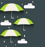 Rainy days theme paper-cut background vector