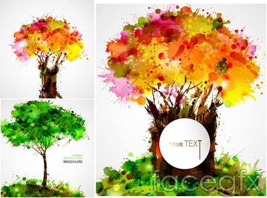 Colored Ink Splatters Color Ink Splatter Trees