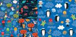 Cartoon marine life shading vector