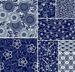 Plain blue floral pattern vector