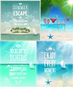 Seaside posters vector