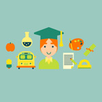 Elements of campus icons vector