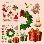 Retro Christmas elements vector