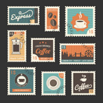 Coffee-related stamps vector