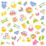 Children's toys, stickers vector