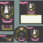 Wedding cards and CD cover vector