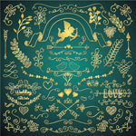 Golden wedding patterns vector