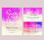 Watercolor wedding cards vector