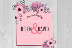 Retro flowers wedding invitation card vector