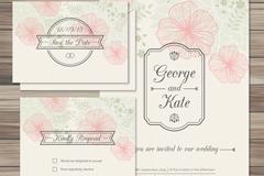 2 floral wedding invitation card vector
