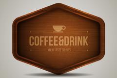 Creative coffee wooden card vector