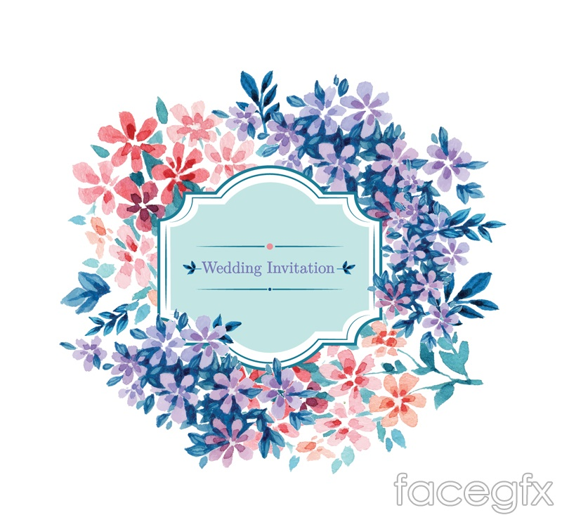 Watercolor Flowers Wedding Invitations Vector Illustration