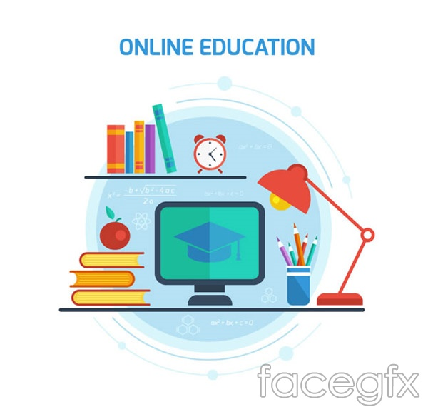 Online Education Illustration Vector Free Download