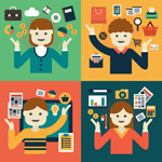 Cartoon e-commerce figures vector