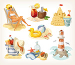 Summer beach elements design vector