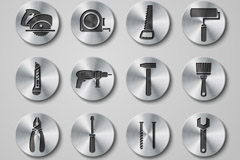16 round metal tool icon vector